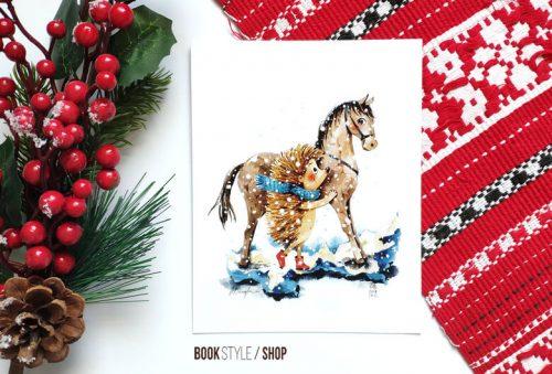 arici-cal-calut-carte-postala-ilustratie-iarna-craciun-zapada-aliona-bereghici