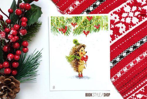 arici-zapada-iarna-craciun-ilustratie-aliona-bereghici-carte-postala