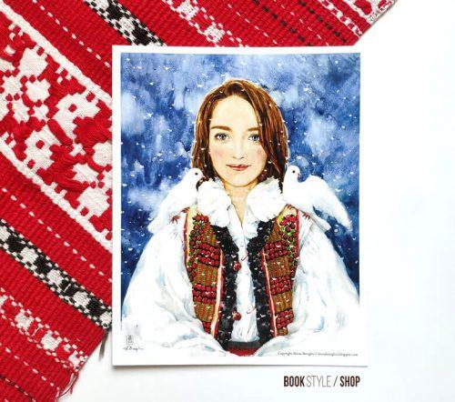 ilustratie-pictura-portret-femeie-aliona-bereghici-carte-postala