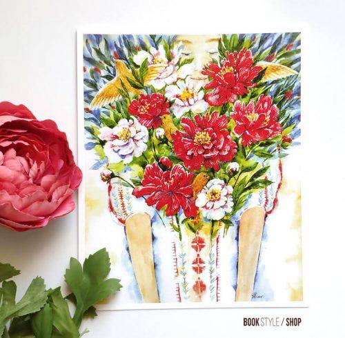 Carte poștală - Ia cu bujori - Aliona Bereghici