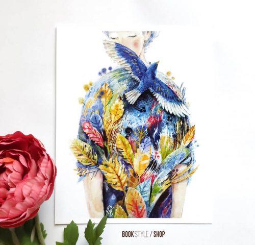 portret-femeie-flori-ilustratie-carte-postala-aliona-bereghici