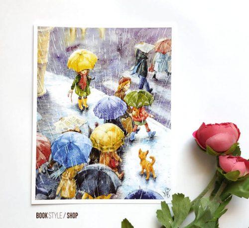 rain-ploaie-ilustratie-umbrela-carte-postala-aliona-bereghici