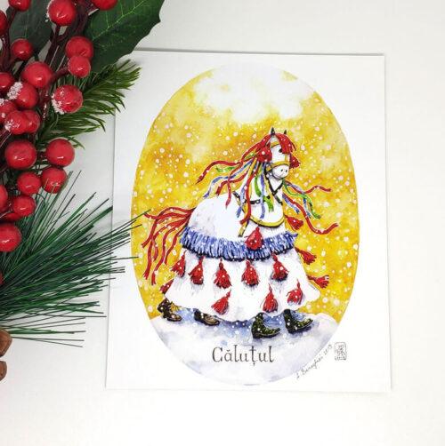 calutul-traditii-romanesti-moldovenesti-carte-postala-aliona-bereghici-iarna-craciun