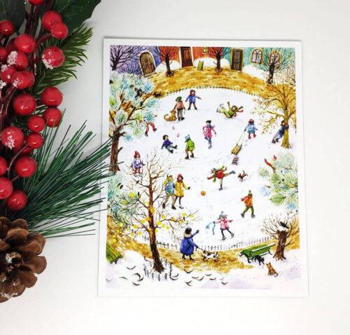 sarbatori-fericite-gheata-patine-iarna-peisaj-carte-postala-aliona-bereghici